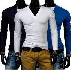 New Fashion Summer Mens Long Sleeve V-neck Solid Stylish T-shirt