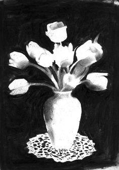 Granny's plastic tulips,Quiet book, Quietness exhibition in Tokyo, charcoal, 2003