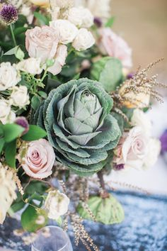 Cabbage centerpiece | Nicole Chatham Photography | see more on: http://burnettsboards.com/2015/12/upscale-manor-wedding-free-spirited-twist/