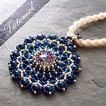 Beaded Pendant Tutorial, Lacy Medallion Rivoli and Seed Bead Pattern, Step by Step with Detailed Diagrams, Principessa Beaded Bracelet Patterns, Beading Patterns, Beaded Jewelry, Beaded Necklace, Beaded Bracelets, Super Duo Beads, Swarovski, Beading Tutorials, Beading Ideas