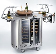 Bongos mobile outdoor wine cellar and cocktail bar from Alpina Wine Station, Station 1, Wine Furniture, Kitchen Furniture, Outdoor Furniture, Wine Cart, Unique Sofas, Wine Decor, Sofa Styling