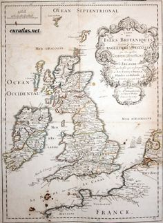 Antique clickable map of the British Isles, England, Scotland, Wales and Ireland made by du Val in This page shows the complete map. Genealogy Of Jesus, Genealogy Forms, Genealogy Chart, Map Of Britain, Map Globe, Treasure Maps, Old Maps, Historical Maps, British Isles