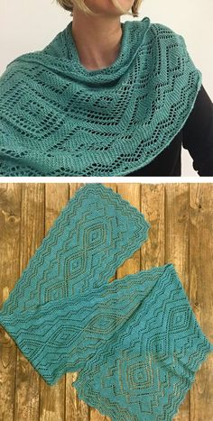 Knitting Pattern for Santa Fe Turquoise Trail Scarf- Lace scarf interprets the rich textile designs of the American Southwest in Orenburg lace style.  Designed by Mara Bishop Statnekov. Pictured project by Andrea Lotz. Click on image to get the pattern at Interweave. Use WEAVE15 to get 15% off tba