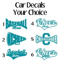 Sports Car Decals Window Sticker Cheer Car Decal by VinylDezignz