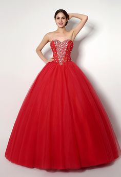 Red Beaded #Ball #Gown Sweetheart Floor-Length Tulle Lace Up Quinceanera Dress $101.49