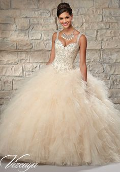 Quinceanera Dress 89027 Embroidered and Beaded Bodice on a Ruffled Tulle Skirt   White