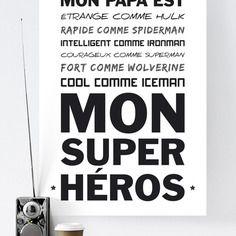 Affiche poster  - super héros papa - fête des pères