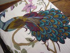 NICOLE MILLER PEACOCK FLORAL Purple Teal KING DUVET COVER SET~3PC photo 3/7