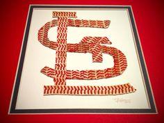 St. Louis Cardinals 'STL' Baseball Seams Original Artwork - Made of Actual Used Baseballs on Etsy, $100.00