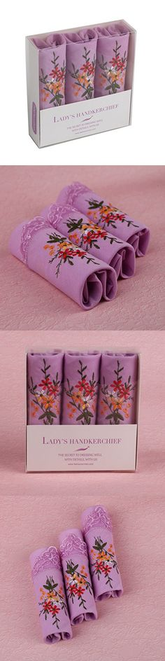 FEA0201 Violet Patterned Pure Cotton Christmas Gift Idea 3 Handkerchiefs Set for Girlfriends By FashionOn