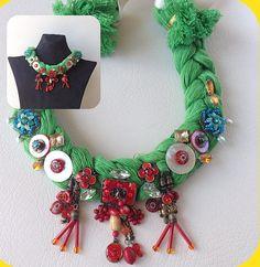 Rhinestone Necklace necklace green necklace by hobilium on Etsy