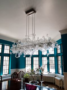 Custom blown glass art chandeliers: Ribbon Chandelier