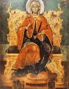 "Saint Marina the Martyr, ""Marina from Andros"" Middle Age Fashion, St Margaret, Orthodox Christianity, Religious Icons, Art Icon, Orthodox Icons, Roman Catholic, Our Lady, Christian Faith"
