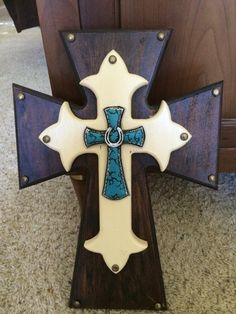 24 inch stacked wooden cross stained with cream and by A4LCreation