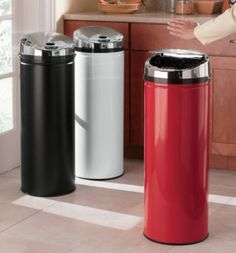 """Automatic opening  kitchen waste can, 12"""" diameter, 13 gal capacity. $99, countrydoor.com"""