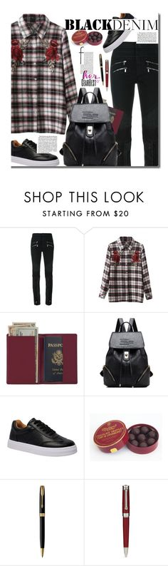 """Casual"" by beebeely-look ❤ liked on Polyvore featuring Roberto Cavalli, Royce Leather, Charbonnel et Walker, Parker, Montegrappa, casual, casualoutfit, plaidshirt, blackdenim and gearbest"