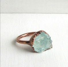 Beautiful rough aquamarine ring in brass