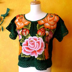 Embroidered Mexican Blouse Huipil Frida Style by LivingTextiles,