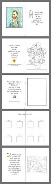 Van Gogh book printable- + tons of great art lessons and projects for young children!