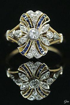 Sapphire and diamond ring, Europe,  ca. 1910, Calibre cut sapphires, old European cut diamonds, rose cut diamonds, 18k gold, platinum, France assay mark, 1.5 × 1.2cm, 3.6g