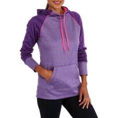 Danskin Now Women's Active Raglan Tech Fleece Hoodie, Size: 2XL, Orange