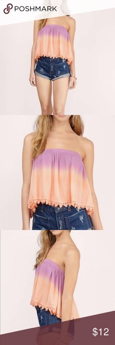 🌞5/$25 Tobi Ombré Pink Peach Purple Crop tube Top So comfortable and cute! This loose flowy Top makes being trendy carefree and effortless! Elastic banding around Top. Made of 100% Rayon, perfect condition Tobi Tops