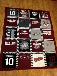 TShirt Quilts: I need to learn to do this and start saving the girls sentimental T shirts Sports Quilts, Quilting Projects, Quilting Tips, Quilting Designs, Sewing Projects, Sewing Crafts, Craft Projects, Memory Quilts, Baby Quilts
