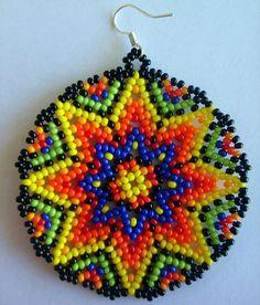 Mexican Huichol Beaded earrings от Aramara на Etsy