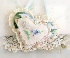 Sachet Heart Ornament 6 inch  Ruffled Heart by CharlotteStyle
