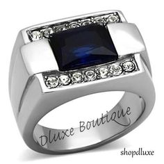 MEN'S EMERALD CUT DARK BLUE MONTANA & CZ SILVER STAINLESS STEEL RING SIZE 8-13 #SolitairewithAccents