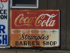Vintage Cola Signs | Vintage Coca Cola Sign (Strimple's Barber Shop) | Flickr - Photo ...