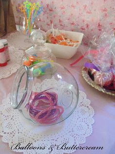 Beautiful mother & daughter high tea 3rd birthday party <3 instead of a candy buffet - a loot bag buffet (for the little kids parties let them help themselves! they love it!