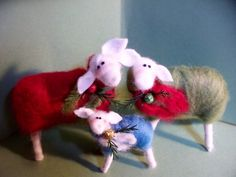 These 2 to 4 tall Christmas Sheep are brand new for Christmas of 2012! They are made by a wrapping of wool over a wire frame. Each one is made