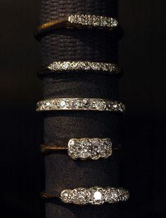 Some Diamond Bands: Five Diamond Ring. Seven Diamond Ring, Platinum Band with Old Cut Diamonds, Eight Diamond 2 Row Ring, Five Diamond Ring, Wedding Rings Vintage, Vintage Rings, Wedding Bands, Vintage Diamond Rings, Diamond Bands, Diamond Cuts, Oval Diamond, Antique Jewelry, Vintage Jewelry