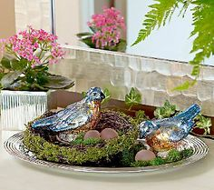 S/2 Lit Mercury Glass Birds with Nest and 3 Frosted Eggs by Valerie
