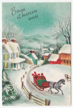 Vintage Greeting Card Christmas Winter Scene Old-Fashioned Horse Sleigh Hallmark