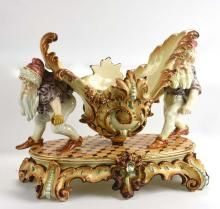 Hugo Lonitz pastel majolica table center in the form of