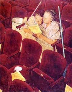 Norman Rockwell - Charwomen in Theater