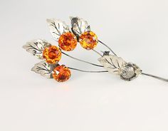 Vintage Spray Flower sterling silver Brooch pin Orange crystal, Fall arts and crafts 1940s jewelry