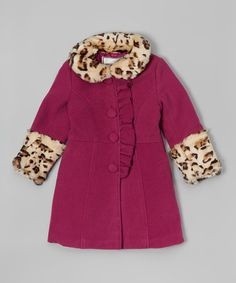 This Burgundy Ruffle Leopard Faux Fur Coat - Girls is perfect! #zulilyfinds