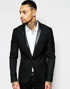 ASOS Skinny Blazer With PU Lapel in Black