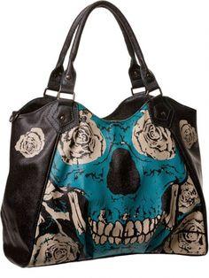 """Women's """"Blue Skull' Handbag by Banned Apparel (Black/Blue) #inkedshop #blueskull #handbag #roses #skull #fashion #purse"""