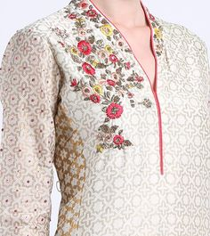 Ivory & Pink Embroidered Chanderi Kurta With Palazzos & Kurta