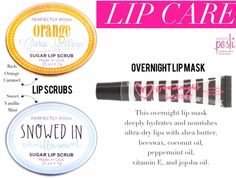 2016 fall/winter  new Perfectly Posh lip line. Lip scrubs are awesome for sluffing off crusty dry lips while hydrating new fresh lips.