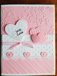 could also be wedding anniversary Valentine Love Cards, Valentine Crafts, Wedding Anniversary Cards, Wedding Cards, Homemade Cards, Homemade Valentine Cards, Making Greeting Cards, Embossed Cards, Creative Cards