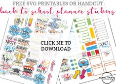 Back to School Planner Stickers - Perfect for Calendars, too! Back to school planner stickers. The stickers are perfect for calendars, too! Free SVG and PDF files. Cut using a Silhouette or Cricut, or by hand. To Do Planner, School Planner, Teacher Planner, Free Planner, Printable Planner, Happy Planner, Planner Stickers, Planner Ideas, Organized Teacher