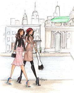 custom illustration   Grand Central Station   fashion illustration   besties   Brittany Fuson