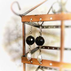Handmade elegant black onyx and freshwater pearl earrings Pearl Gemstone, Gemstone Earrings, Pearl Earrings, Black Onyx, Fresh Water, Gemstones, Pearls, Elegant, Trending Outfits