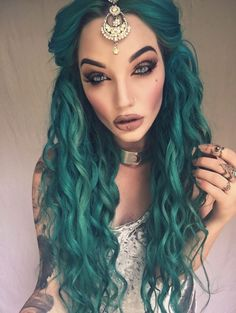 Designer Clothes, Shoes & Bags for Women Green Hair, Blue Hair, Mom Costumes, Witch Costumes, Gypsy Hair, Natural Hair Styles, Short Hair Styles, Beauty Makeup, Hair Beauty