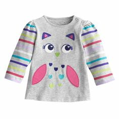 NEW Okie Dokie Toddler Baby Girls Long Sleeve Cute Shirt ~ Owl Good with Glasses